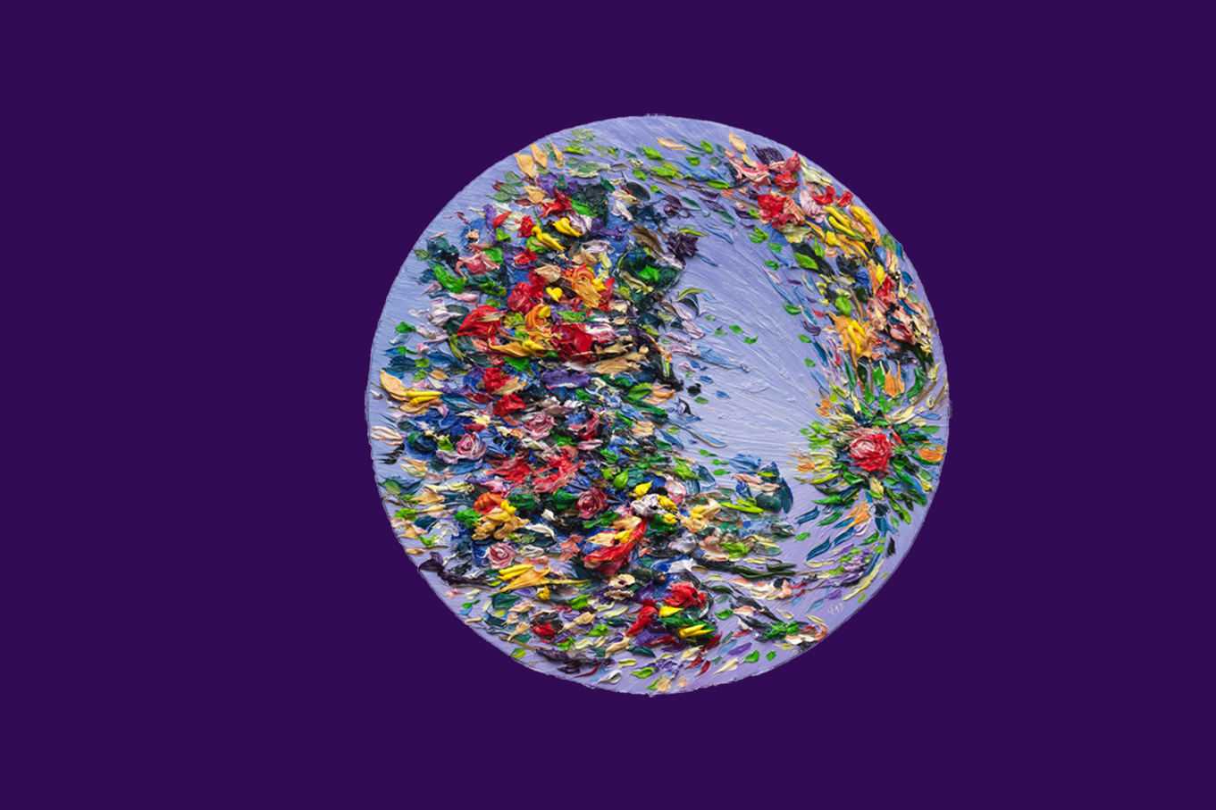Mondblüten 10, oil on canvas, 110 cm (diameter), 2017